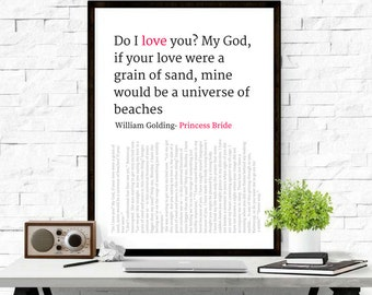 Princess Bride Love Quote Art Poster, Typography, Book Quote, Art Print, Novel Quotes, Classic Quote, Digital Art, Home Decor