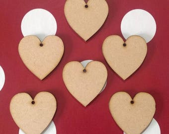 20 x Small Wooden Hearts 6cm blank shapes with one hole