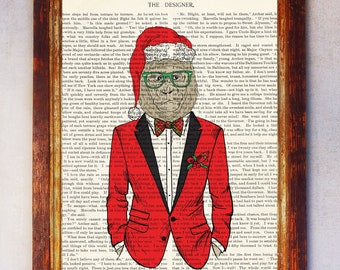 Fashion Santa Claus Uracotange with Red Suit and Red Bow Book Art Print, Uracotange Wall Art, Uracotange Poster, Nursery Print Uracotange