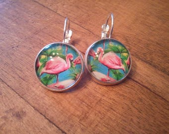 Earrings hypoallergenic sleeper, 16 mm, round, Flamingo, free shipping