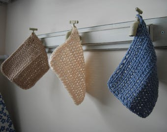 Hand Crocheted Old Timey Dish Cloths - Set of 3