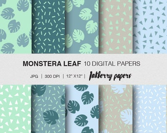 digital paper/ Monstera leaf/ Monstera instant download paper/ monstera digital paper pack/ monstera craft paper/ monstera paper/wrapping