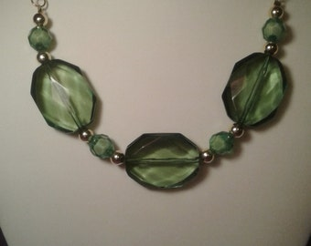 Loving green chunky necklace women's hobbies4twins