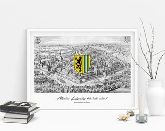 "Poster | Print | Art print ""Historic Leipzig"" with quote by Goethe"
