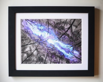 Watercolor painting, Fine Art Print, Painting of nightsky