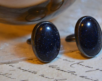 Blue gold stone ring/ oxidized Sterling silver ring/ size 6