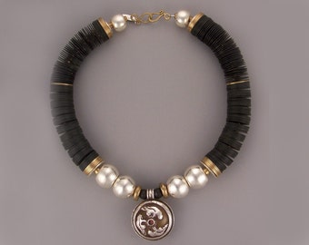 LEV-394: Black Vulcanite Necklace With Nepal Silver Resin Pendant