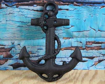 "Cast Iron Anchor Wall Decor 6"" W x 7.5"" H (Black)"
