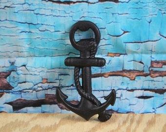 Cast Iron Anchor Bottle Opener Black
