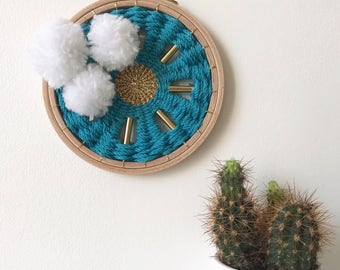 """Small round wall weaving """"SUN AND CLOUD"""""""