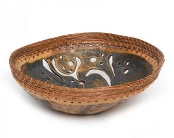 Ceramic Bowl with Pine Needle Trim