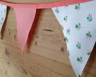 Fir Tree Print Pink Fabric Bunting - 2.5m