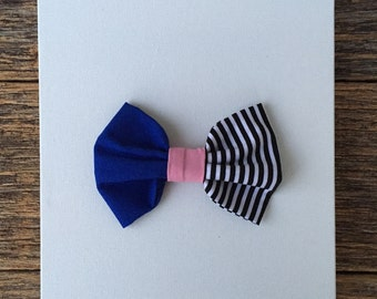 Royal Blue and Striped Bow, Fabric Bow, Royal Blue Bow, Black and white striped bow with pink