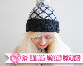 Royal - Diamond Contrast Cabled Beanie PDF Knitting Pattern - Digital Download