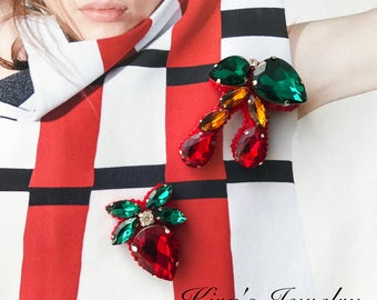 Brooches STRAWBERRY AND CHERRY