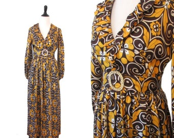 Vintage 1960's Floral Evening Gown - Size Small