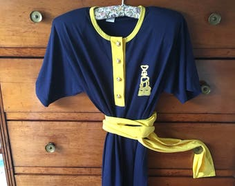 Vintage 80 completo Navy dress size L