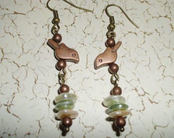 Boho Dangle Earrings Rustic Tribal Bohemian Hippie Earrings Bronze Birds Pastel Glass Beads Bronze Spacer Beads