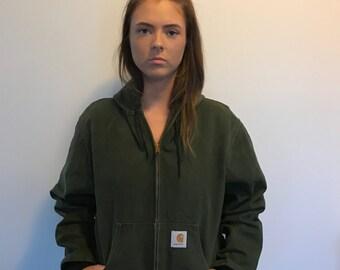 Vintage Carhartt Green Canvas Hoodie Jacket