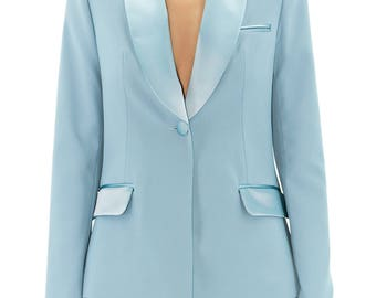 Sky blue smoking jacket
