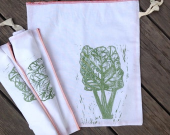 Organic Cotton - Produce Bag - Bulk Bag - Handmade with Zero Waste - Biodegradable - No Synthetic Paints/Fibers - Chard - Plastic Free