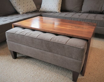 Waterfall Wood Coffee Table, Ottoman Coffee Table Top, Ottoman Tray Table, Mid Century Modern, LOCAL Pickup/Delivery ONLY - The WATERFALL