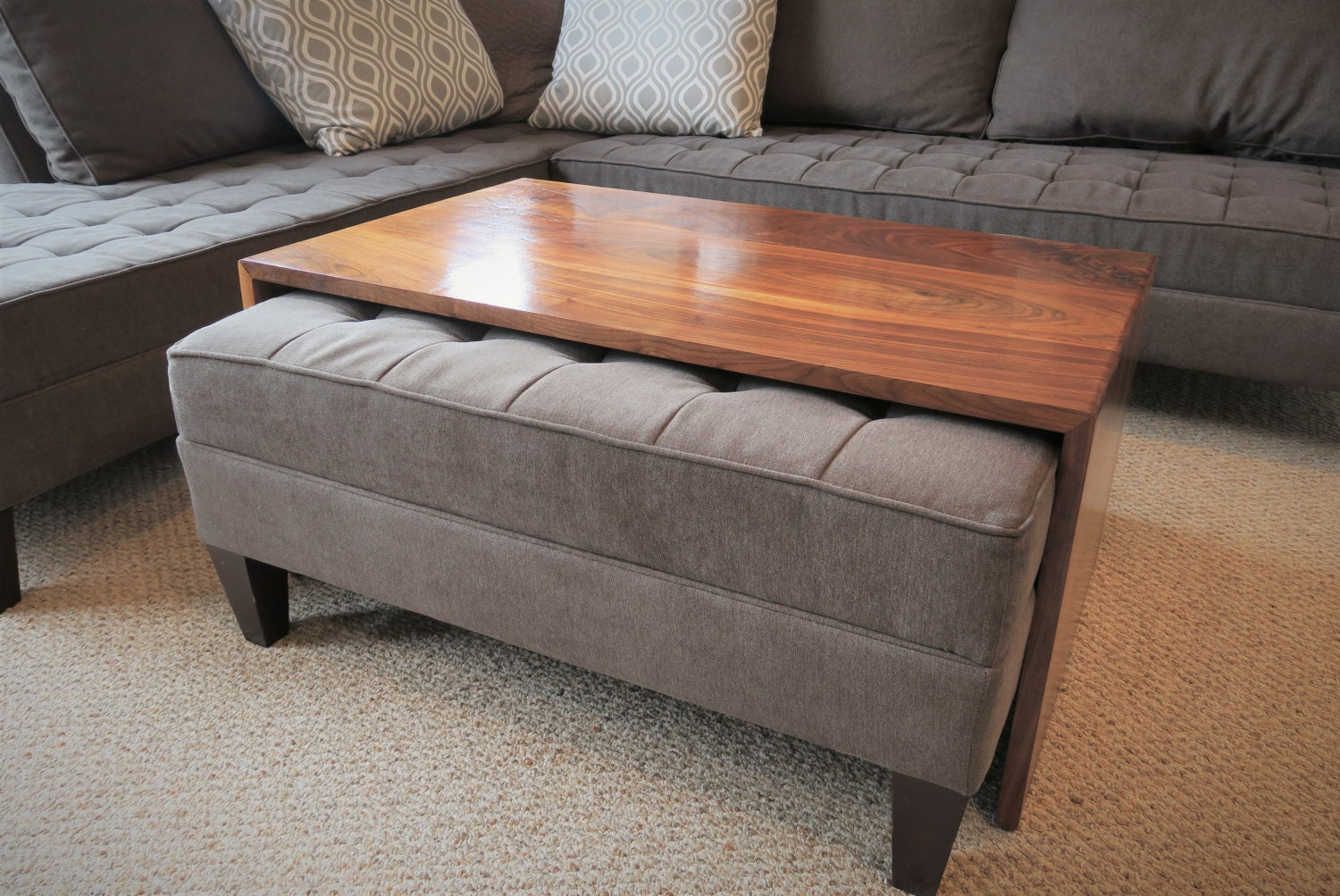 waterfall wood coffee table ottoman coffee table ottoman. Black Bedroom Furniture Sets. Home Design Ideas