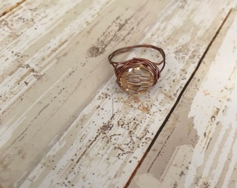 Jeweled ring with brass wire wrap