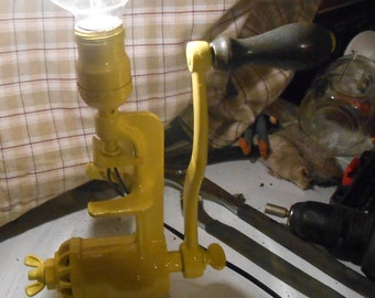 Industrial/steampunk meat grinder lamp in yellow paint