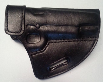 Open Top Leather Holster with Black Suede Liner