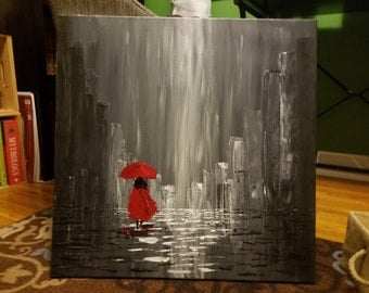 Abstract Woman in Raining City