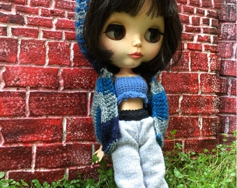 Hip hop blythe outfit, streetwear doll clothes, pure neemo outfit, blythe doll hoodie, tough girl doll outfit, azone clothes, ooak doll