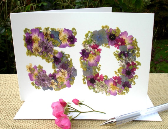 Handmade Pressed Flowers Floral Birthday Card