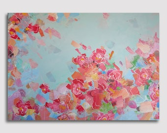 "Spring flower  19.7"" x 27.5"" Original Acrylic Painting On Canvas"