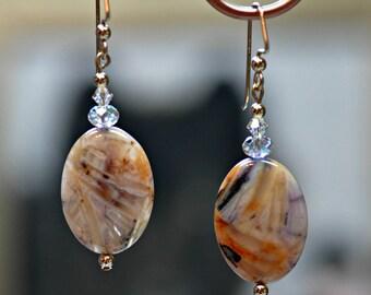 Sagenite Agate  14K gold/Swarovski  dangle earrings