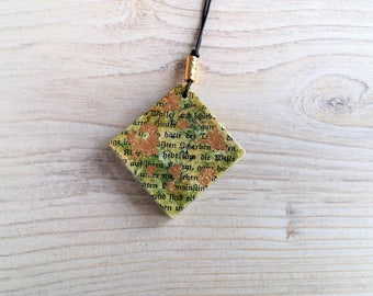 Green pendant from book pages, paper, trailer Green gold leaf, books, unique jewellery pendant diamond, special gift, remembrance