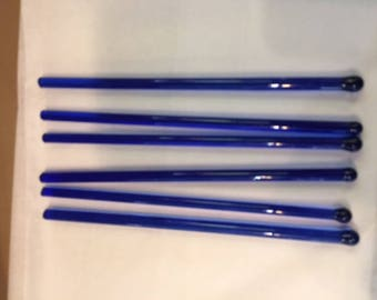 Set of 6 vintage cobalt blue glass swizzle sticks