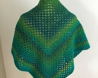 striped cloth, scarf for women, green scarf, crochet shawl