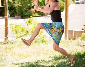 Jersey stretch skirt - Ocean Salinity skirt - Skirt with Pockets
