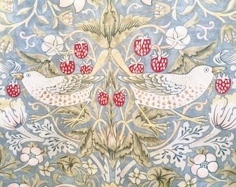 Strawberry Thief William Morris fabric -  blue green fabric -  birds fabric - Art Nouveau fabric - William Morris print - Edwardian fabric