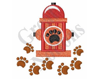 Hydrant And Paw Prints - Machine Embroidery Design