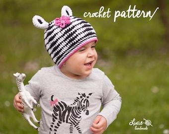 Crochet Hat PATTERN No.65 - Spring Hat Crochet Pattern With Zebra, Autumn hat, Winter Crochet Hat, Zebra hatt,
