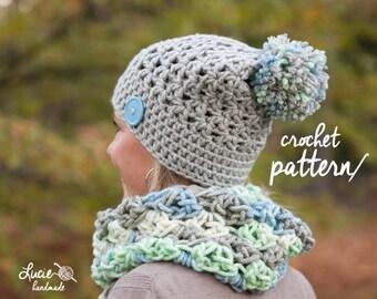 Crochet Hat PATTERN No.36 - Uni Women set, Winter Crochet Pattern, Winter Hat, Winter Infinity Scarf