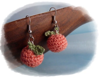 Crochet unique earrings Orange