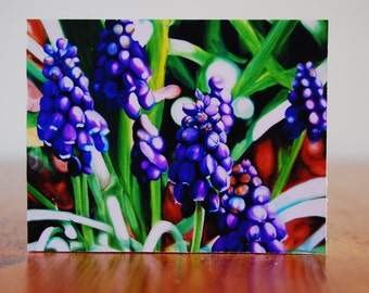 "print of original painting ""companions"", 3x4"", grape hyacinth, purple flower, realism, macro, home decor"