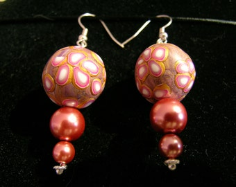 dangling earring beads polymer flower