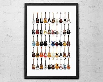 Guitar Legends - Guitar Collage - Guitar Poster - Gifts for Musicians - Rock Poster - Music Decor - Rock and Roll Guitarists - Music Poster