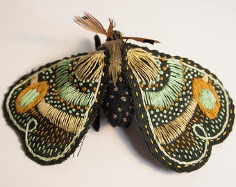 The Moth of Spring (Hand-embroidered textile sculpture)