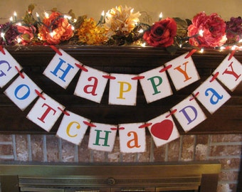 Happy Gotcha Day /Garland/Adoption/Party Decoration/Fireplace Decoration/Photo Prop/Custom/Handmade/Primary Colors/Birthday