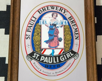 Vintage St. Pauli Girl Mirror Beer Sign